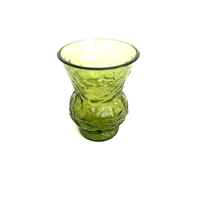 Vintage Textured Green Glass Vase - Image 2 of 5