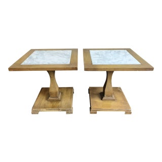 Petit Wood and Marble Accent Tables - Pair For Sale