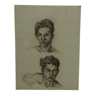 "Mid-Century Modern Original Drawing on Paper, ""2 Faces of Jeremy"" by Tom Sturges Jr For Sale"