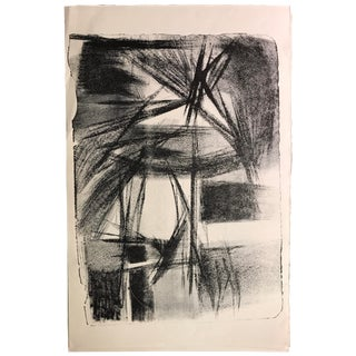 Mid Century Modern Black & White Abstract Stone Lithograph For Sale
