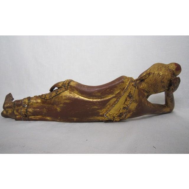 Thai Reclining Wood Figure - Image 4 of 5