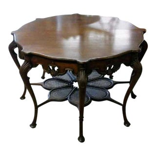 1930's Queen Ann Parlor Table/ Foyer With Woven Rattan for Planter Display Table