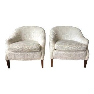 1960s Contemporary Kravet Cut Velvet Curved Back Chairs - a Pair
