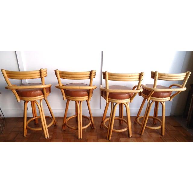 Wood Vintage Rattan Bar Stools - Set of 4 For Sale - Image 7 of 11