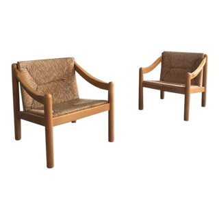 """Mid Century Italian Vico Magistretti for Cassina """"Carimate"""" Lounge Chairs- a Pair For Sale"""