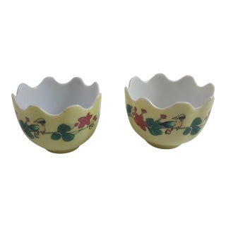 Yellow Porcelain Egg Cups - A Pair For Sale