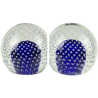Murano Sommerso Cobalt Blue Bubbles Italian Art Glass Ball Bookend Sculptures For Sale