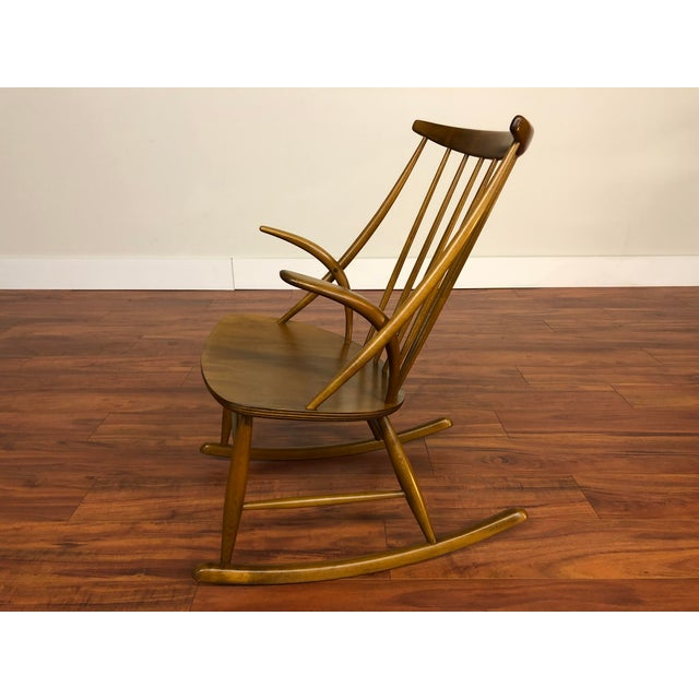 Brown Illum Wikkelso for Niels Eilersen Gyngestol Rocking Chair For Sale - Image 8 of 13