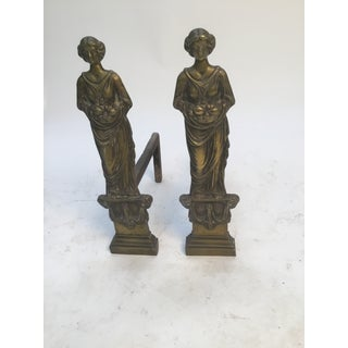 Antique Female Figurative Fireplace Andirons - a Pair Preview