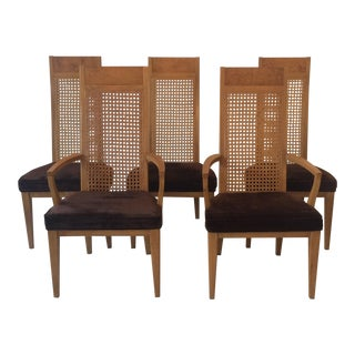 Milo Baughman for Dillingham Cane Back Dining Room Chairs - Set of 5