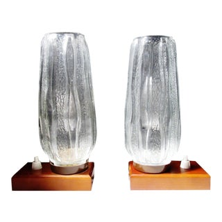 Mid-Century German Kalmar Ice Crystal Glass Boudoir Accent Lamps - A Pair For Sale