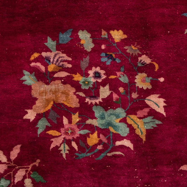 Art Deco Magenta Chinese Deco Carpet For Sale - Image 3 of 11