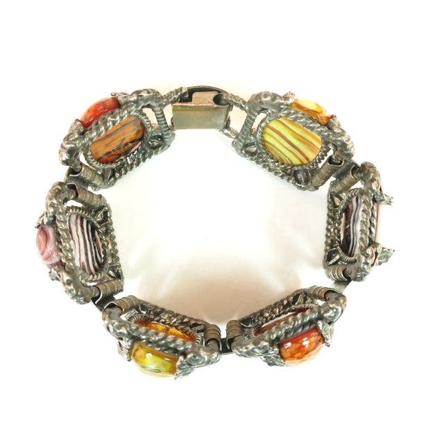 Black Mid-Century Selro Agate Art Glass Florentine Link Bracelet, 1950s For Sale - Image 8 of 13