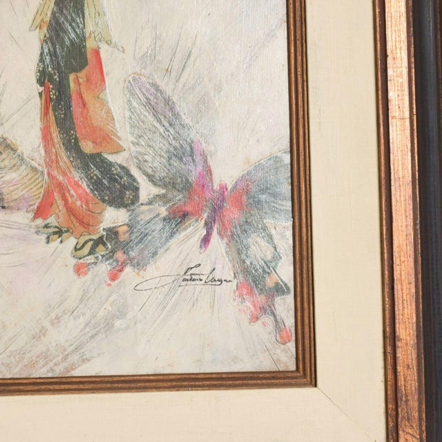 Mixed Media Art, Japanese Woman Pink Butterflies, Signed Painting For Sale - Image 9 of 11