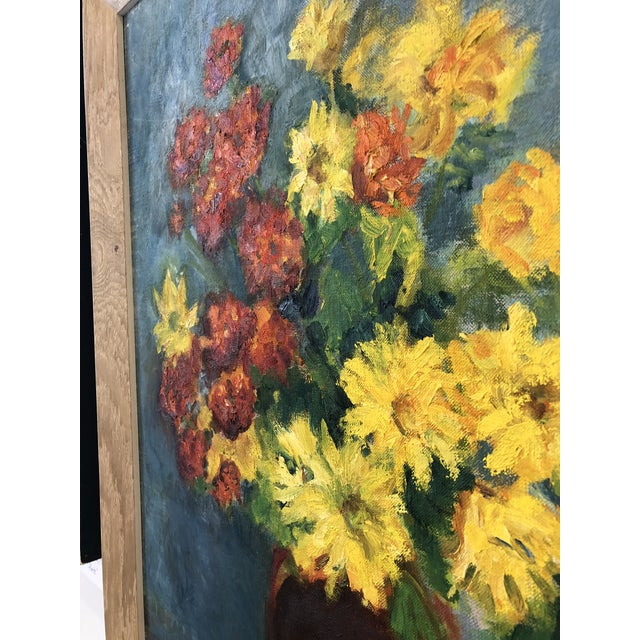 Mid 20th Century Framed Vintage Floral Oil Painting, M. Schwartz For Sale - Image 5 of 7