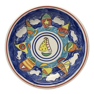Vintage Hand-Painted Nautical Serving Plate For Sale