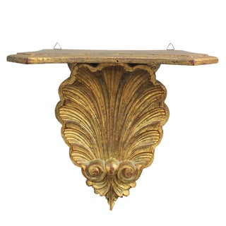 20th Century Hollywood Regency Gold Shell Hanging Shelf For Sale