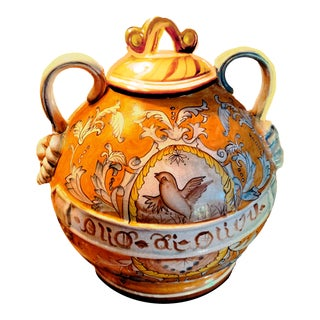 "Large Hand Painted Tuscan Amphorae 2 Handled ""Bottiglione"" Olio Olivo Ceramic Jug /Jar/ Poutiche For Sale"