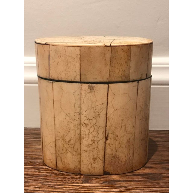 Asian Oval Bone & Black Lacquer Container For Sale - Image 3 of 5