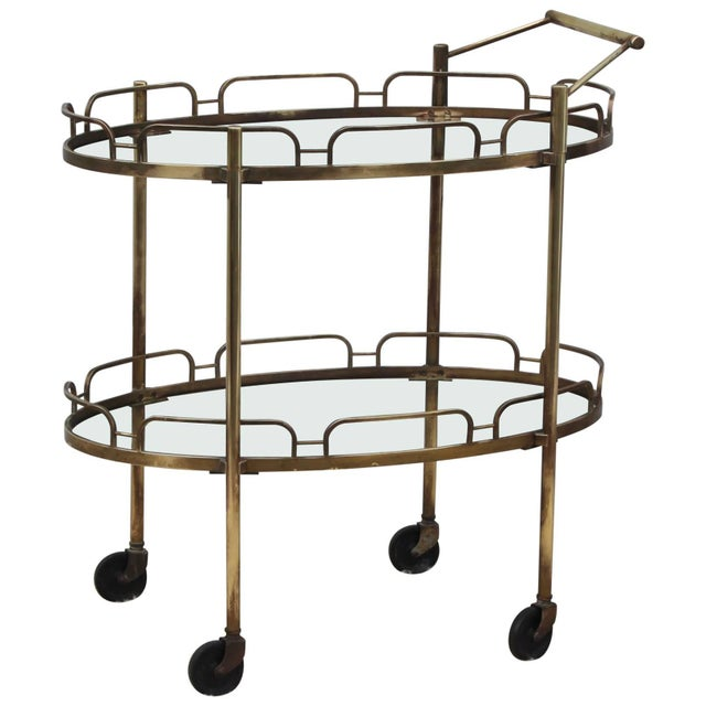Signed Maxwell-Phillips Patinated Brass Bar Cart For Sale - Image 13 of 13