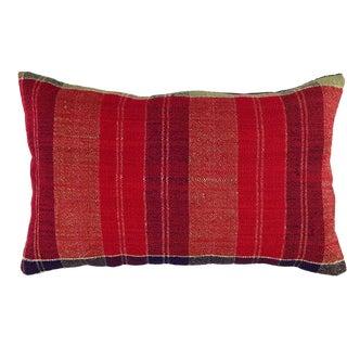 """Subtle Plaid Kilim Lumbar Pillow 12"""" X 20"""" For Sale"""