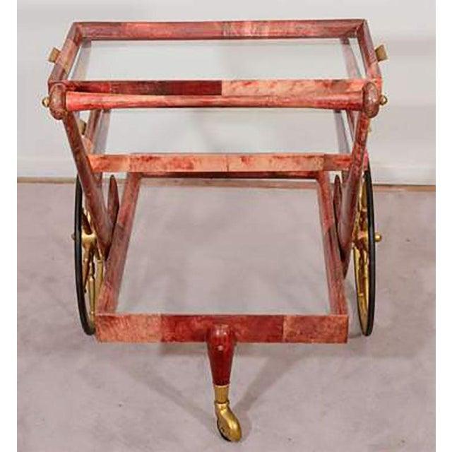 Mid-Century Modern Mid-century Rose-tone Goatskin Bar Cart by Aldo Tura For Sale - Image 3 of 5