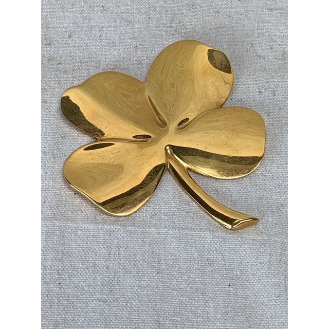 Boho Chic Vintage Gold Four Leaf Clover For Sale - Image 3 of 10