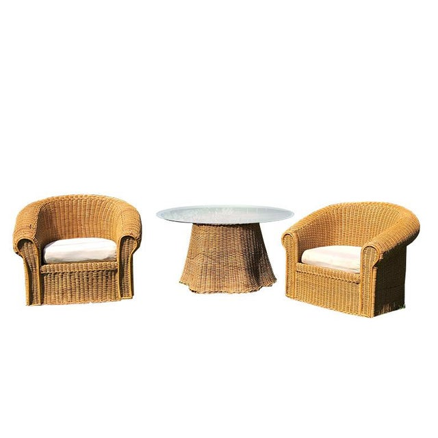 Rustic Round Wicker Bamboo Rattan Trompe l'Oeil Ghost or Draped Lounge Set 3 Pieces 1970s For Sale - Image 3 of 12