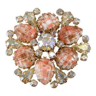 Vendome Coral Art Glass Iridescent Rhinestone Brooch Pin For Sale