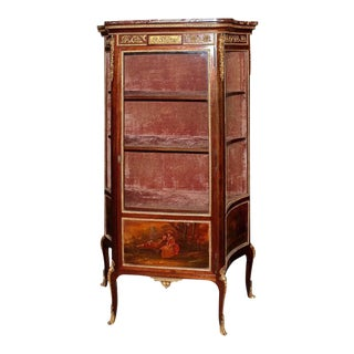 19th C. French Hand-Painted Ormolu Bronze & Marble Top Vitrine For Sale