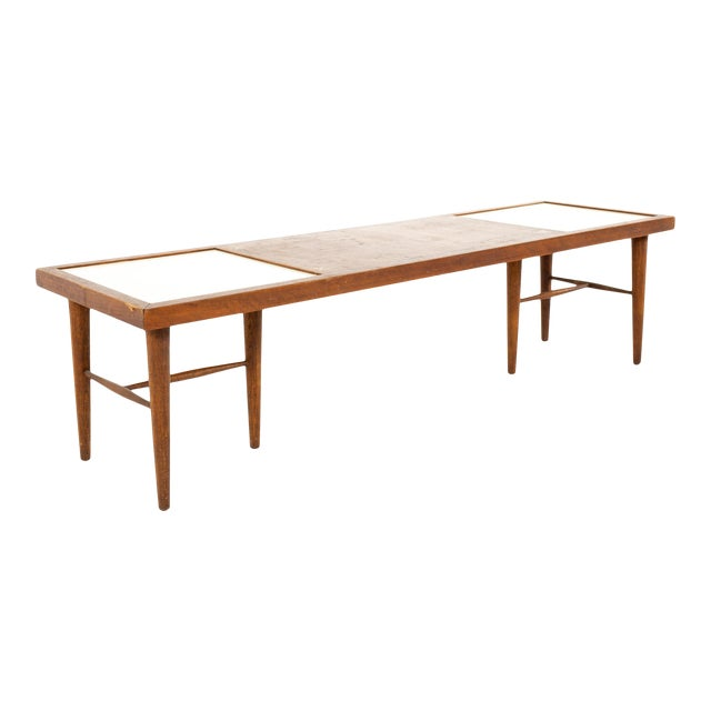 Merton Gershun for American of Martinsville Mid Century X Inlaid Walnut and White Laminate Coffee Table For Sale