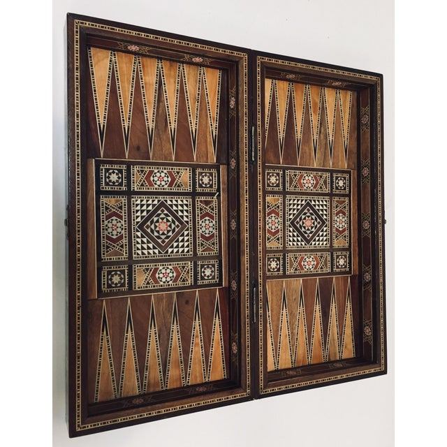 Brown Vintage Mid-Century Syrian Inlaid Mosaic Backgammon and Chess Game For Sale - Image 8 of 12