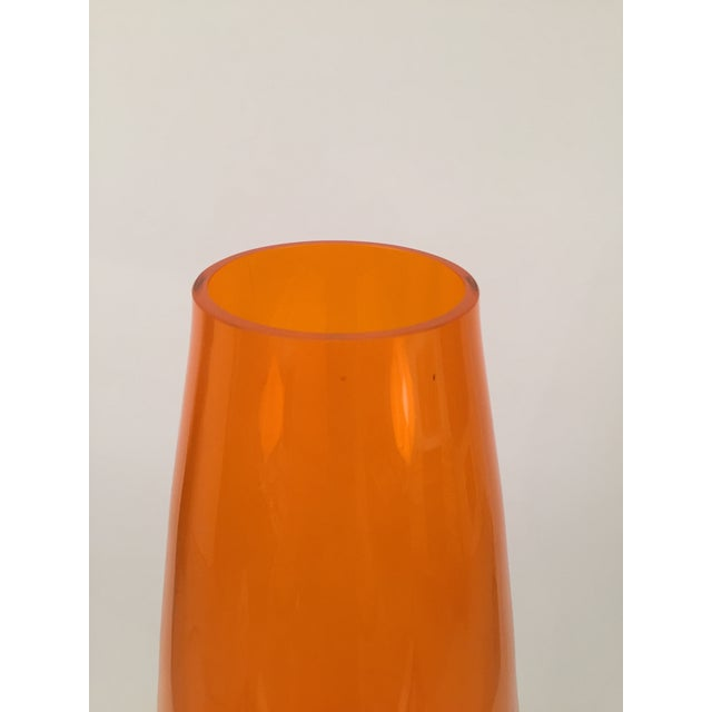 Orange Hand Blown Glass Vase - Image 4 of 8