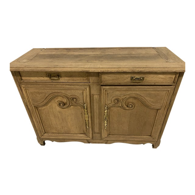Antique Buffet Provencal Louis XV Style Bleached Walnut Wood For Sale