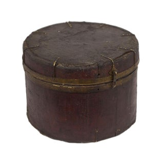 Rustic Tibetan Leather & Iron Wooden Box For Sale