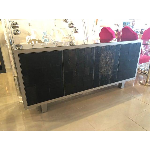 Black Vintage Brutalist Signed Pia Manu Sculpted Ceramic Slate Sideboard Buffet Credenza For Sale - Image 8 of 13