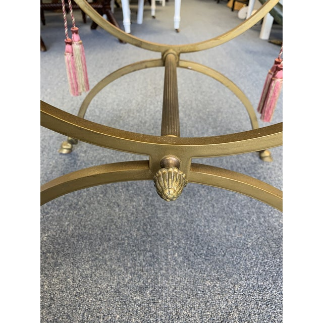 Vintage Mid Century Brass Tone Hoofed Vanity Stool For Sale In West Palm - Image 6 of 9