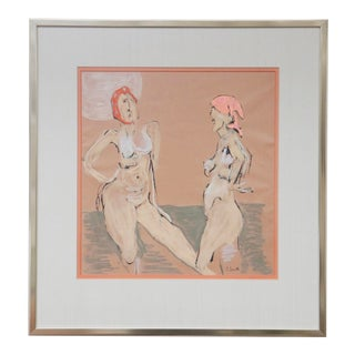 """""""The Bathers"""" Original Gouche on Paper by S.Smith For Sale"""