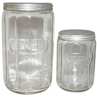Hoosier Colonial Coffee & Tea Canisters - A Pair