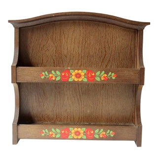 1980s Wooden Spice Rack Wall Shelf by Emsa in West Germany For Sale