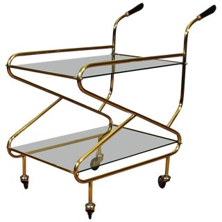 1950s Bar Cart, solid brass, original glasses - France For Sale