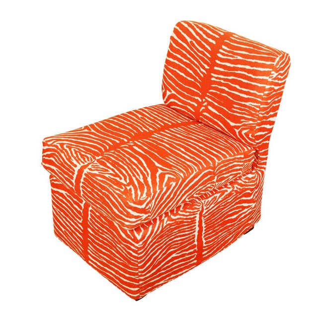 Modern Orange Zebra Slipper Chairs - a Pair For Sale - Image 3 of 5