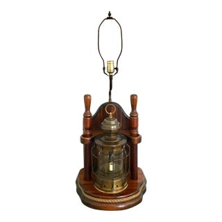 Vintage 'Ships Lantern', Brass & Mahogany Nautical Table Lamp With Candle (Pair Available) For Sale