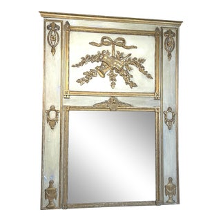 Antique Late 19th Century French Carved White Painted Giltwood and White Trumeau Mirror For Sale