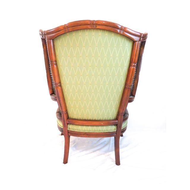 British Colonial English Traditional Green Upholstered Faux Bamboo Wingback Chair For Sale - Image 3 of 9