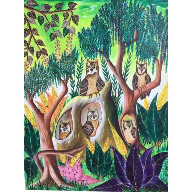 Haitian Folk Art Painter Owls Painting by Adam Leontus For Sale