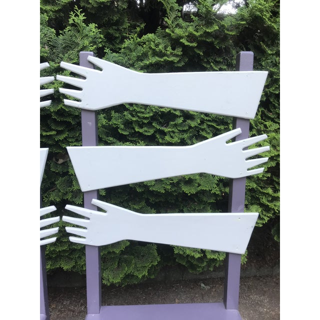 """1980s Whimsical Post Modern Artist Made """"hand"""" Chairs -A Pair For Sale - Image 5 of 8"""