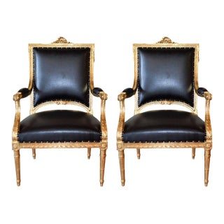 Louis XVI Style Gilded Armchairs - A Pair