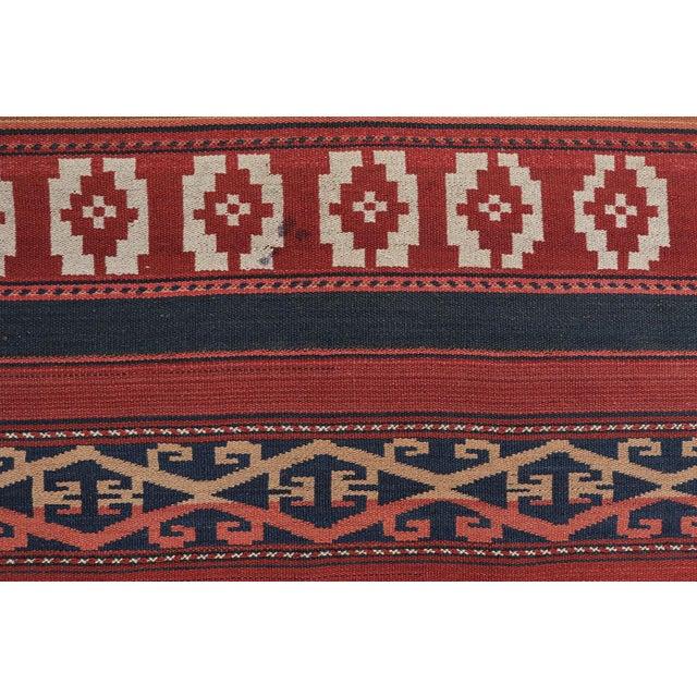 """Vintage Afghan Tribal Striped Flat-Weave Wool Rug - 4'7"""" X 9'5"""" - Image 4 of 4"""