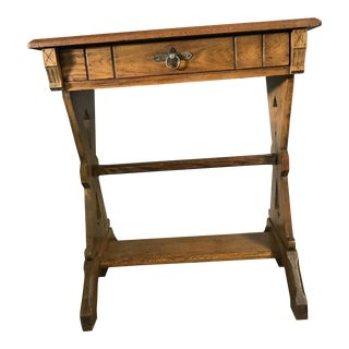 1920s Hudson River School Oak Trestle Writing Table For Sale